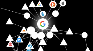 Image of the addon Lightbeam for firefox which shows a mesh network linking all websites to Google